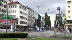 ULTRA HD 4K Timelapse busy road car pass tram public transportation Munich town  Stock Footage