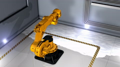 Artist creation heavy industry robotic arm exibition. Stock Footage