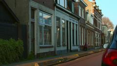 Residential street of Haarlem Netherlands Stock Footage