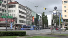 ULTRA HD 4K Tramway station traffic street Munich downtown commuter transport Stock Footage