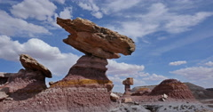 Scenic Balanced Rock in Badlands with Drought Global Warming Climate Change Stock Footage