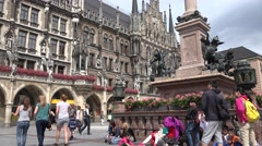 ULTRA HD 4K Pan left Marys Square Munich landmark tourism attraction Marienplatz Stock Footage