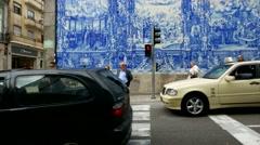 4K Portugal Porto Oporto Capela das Almas de Santa Catarina ceramic facade Stock Footage