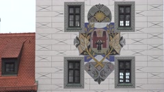 ULTRA HD 4K Coat of arms old town hall tower building Munich landmark symbol day Stock Footage