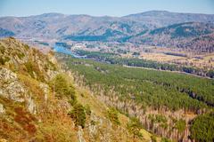 Altai landscape with river Katun Stock Photos
