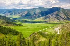 Stock Photo of Altai landscapes from mountain pass Chike-Taman