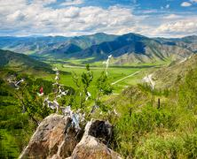 Holy stone on Altai mountain pass Chike-Taman in Russia - stock photo