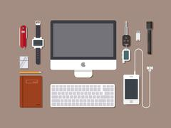 Office workspace. Top view of desk workplace background with computer concept Stock Illustration