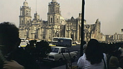 Mexico city 1983: people taking pictures of  Metropolitan Cathedral Stock Footage