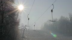 Beautiful morning day on Kraljevica hill ski slopes under snow   4K 2160p UHD Stock Footage