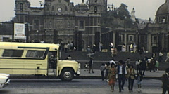 Mexico city 1983: people in front of Metropolitan Cathedral Stock Footage