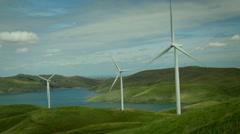 Scenic field of Wind Turbines Stock Footage