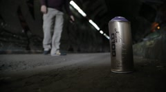 Spray Paint Can in Graffiti Tunnel, London | HD 1080 - stock footage