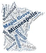 Word Cloud showing cities in Minnesota - stock illustration