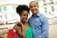 Portrait African American Couple Shopping In Panama City Smiling Stock Photos