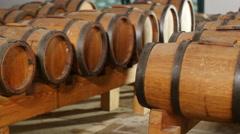 Wine barrels in winery 4k Stock Footage