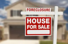 Foreclosure House For Sale Sign in Front of Beautiful Home. Stock Photos