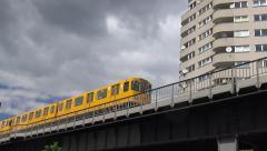 U-bahn passing, camera moving, Berlin Stock Footage