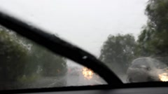REDCLIFFE, AUSTRALIA - FEBRUARY 20: Very poor visibility on roadways POV caused Stock Footage