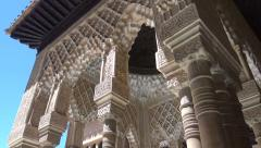 Alhambra portico - tilt down, Court of the Lions Stock Footage