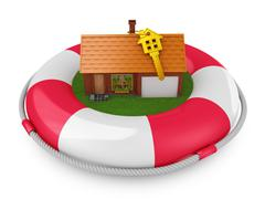 Cozy house on lifebuoys Stock Illustration