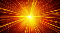 Yellow shining light rays and stars loopable background 4k (4096x2304) Stock Footage