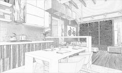 stylish modern interior of the house - stock illustration