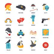 Film Genres Icon Set Stock Illustration
