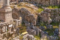 Ruins Temple of Serapis in Jerusalem Stock Photos