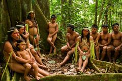 Huaorani tribe in the amazon rainforest, Yasuni National Park, Ecuador - stock photo