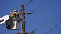 Power lines repaired Stock Footage