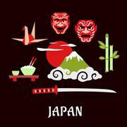 Japan travel flat concept with cultural symbols - stock illustration