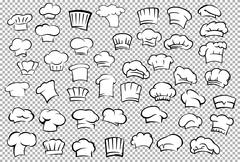 Chef toques and baker hats set Stock Illustration