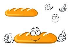 Cartoon dreamy long loaf bread character - stock illustration