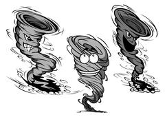 Stock Illustration of Furious cartoon tornado and hurricane characters
