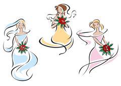 Romantic brides in colorful wedding dresses - stock illustration