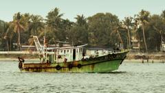 Kerala Backwaters, South india, fishing boat Stock Footage