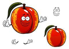 Nectarine fruit with leaf cartoon character Stock Illustration