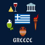 Traditional Greece symbols and culture icons Stock Illustration