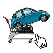 Car and tires in a shopping cart - stock illustration