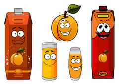 Stock Illustration of Apricot juice containers, glasses and fruit cartoon characters