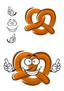 Happy cartoon bavarian crispy pretzel - stock illustration