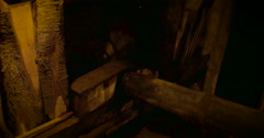 Pulley detail in an ancient wooden mill Stock Footage