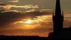 Sunset Timelapse With A Church Silhouette - stock footage