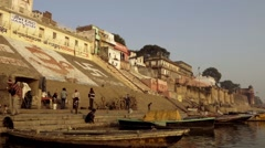 India, varanasi cityscape and ganges river Stock Footage