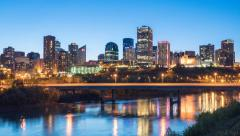 A day to night timelapse of the Edmonton Skyline in 4K Stock Footage