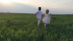 Two children hands running through green field at sunset. Slow motion Stock Footage