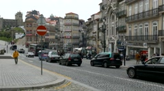 4K Portugal Porto Oporto Traffic near Train station old Town Stock Footage