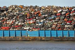 Scrap Metal Recycling Barge - stock photo