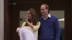 Prince William, Duchess Kate and Baby Charlotte Stock Footage